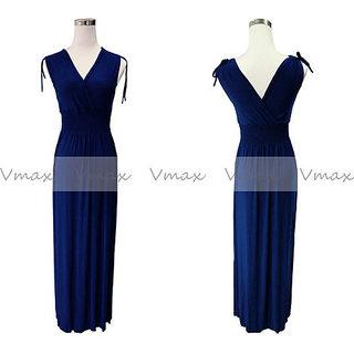Solid Color V Neck Summer Maxi Dress LONG DRESS FREE SIZE BLUE