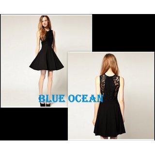 Women Fashion Solid Sexy Lace Open Back Dress O-neck Slim Clubwear Dress