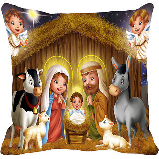 meSleep Jesus Family Digitally Printed Multi-Coloured Cushion Cover