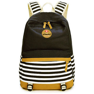 5b8723ef2d Buy Bonmaro Stripes 25L Black Water Repellant Casual Canvas Backpack Online  - Get 67% Off