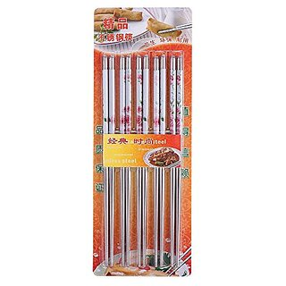 CHOPSTICK 5 Pairs of REUSEABLE STAINLESS  STEEL CHOPSTICKS. 8 Long-10 STICK