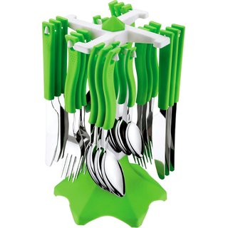 Swastik Cutlery Set Of 24 Pcs Green