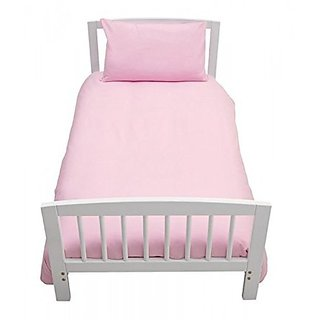 Pure Cotton Solid Color Single Bed Sheet With 1 Pillow Cover - Pink