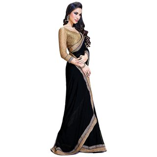 Vidhya Sarees Black Faux Chiffon Embroidered Saree With Blouse Piece