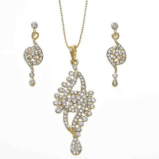 787a2b38f5d Gold Plated CZ Studded Daily Wear Necklace Set With Matching Earrings -  XPE115