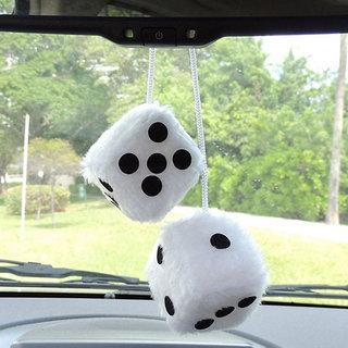 Dice Car Hanging Air Freshener Perfume For Universal Car (White)