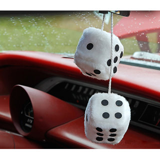Premium Quality White Dice Hanging Car Perfume