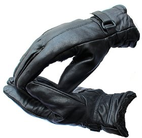 Full Finger Leather Gloves Men Winter Cycling Riding