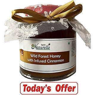 Farm Naturelle-Cinnamon infused 100 Pure Raw Natural Wild Forest Honey-250 Gms-Delicious and Healthy