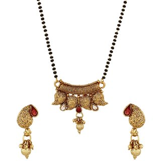 Maharashtrian Style Mangalsutra Tanmaniya Set with Earrings for Women India Bollywood Ethnic