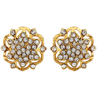 22Kt Gold Polish Conflate Stud Earring Gold Ethnic EverydayWorkwear by GoldNera
