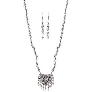 Jewelmaze Zinc Alloy Rhodium Plated Necklace Set