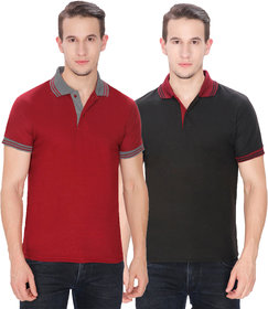 Pack of 2 Men's Polo T-Shirt Combo by Baremoda (Black & Maroon)