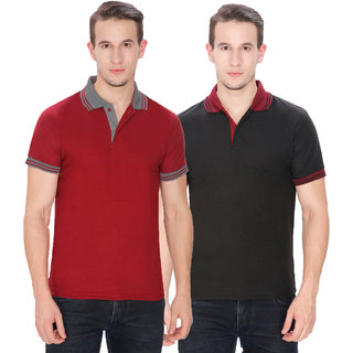 Baremoda Men's Polo T Shirt Black And Maroon Combo Pack of 2