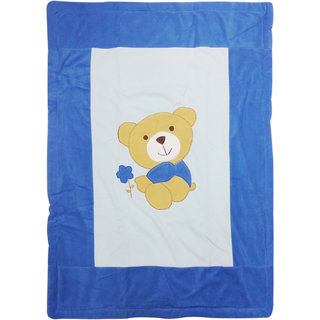 Wonderkids Soft & Comfortable Fancy Teddy Emboss Fleece Baby Blanket, Blue