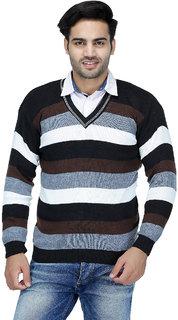 American Sia Striped V-neck Casual Men's Black Sweater