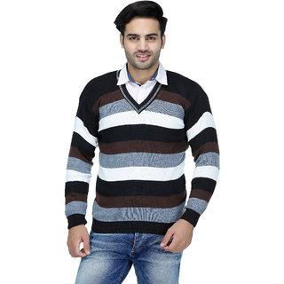 03b9a63709787 Buy American Sia Striped V-neck Casual Men s Black Sweater Online ...