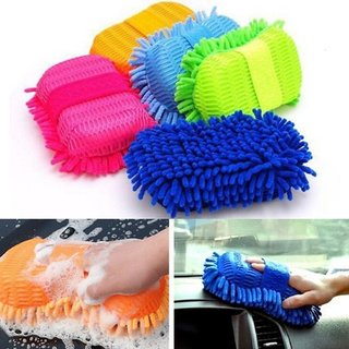 AutoStark Car Washing Sponge With Microfiber Washer Towel Duster For Cleaning Car. Bike Vehicle ( Color May Vary ) (1)