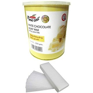 GoodsBazaar Beeone White Milky Wax with 90 Wax Strips (800 Grams)