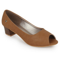 Labriza Tan Synthetic Heels For Women