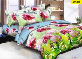 Luxmi Beautiful flowers Design 3D Double Bed sheets With 2 Piilow covers - Multicolor