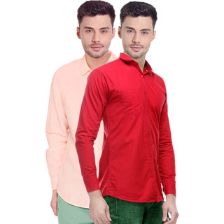 Spain Stylees Men's Multicolor Regular Fit Casual Shirt (Pack Of 2)