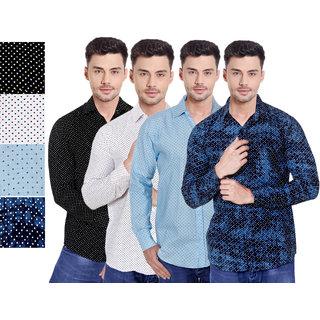 Spain Stylees Men's Multicolor Regular Fit Casual Shirt (Pack Of 4)