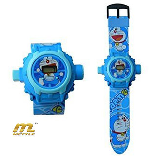 METTLE (TM.) MT-KDW1701 DORAEMON BLUE - 24 Different Images Projector Digital Toy Watch.