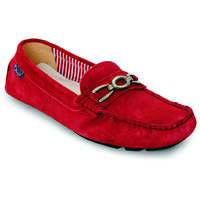 Labriza Red Leather Loafers For Women