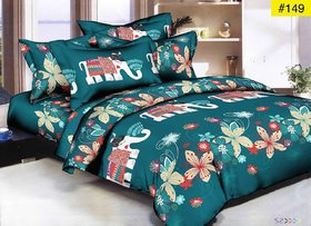 Luxmi Beautiful Elephent Design 3D Double Bed sheets With 2 Piilow covers - green