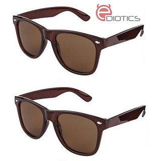 d9a9445291f Buy Ediotics Set of 2 Classic Brown Wayfarer Style Designer Sunglasses for Men  Online - Get 70% Off