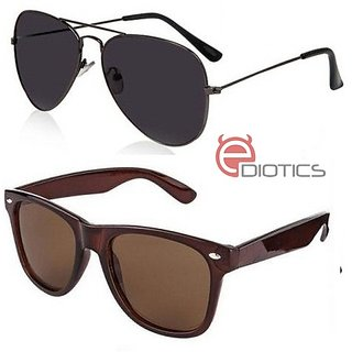 51482e923be Ediotics Attitude Black Aviator Sunglasses Classic Brown Wayfarer Sunglasses