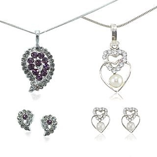 Elegant CZ Studded combo 2 set of Necklace set With Earrings XPE232+XPE267