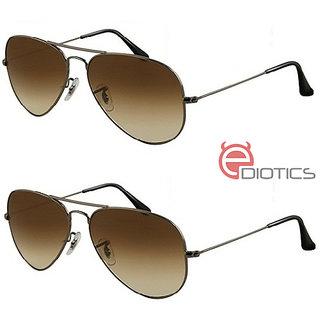 a3a63ab1bdd Buy Ediotics Set of 2 Classic Brown Aviator Style Designer Sunglasses for Men  Online - Get 70% Off
