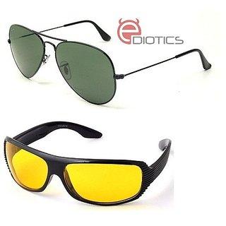 998d653fe80 Ediotics Attitude Greenish Aviator Sunglasses   Yellow Night Driving  Sunglasses