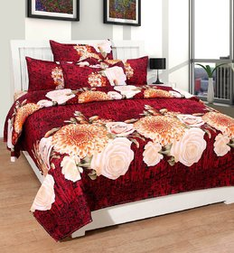 Luxmi Beautiful Mahroon flowers Design 3D Double Bed sheets With 2 Piilow covers - Multicolor