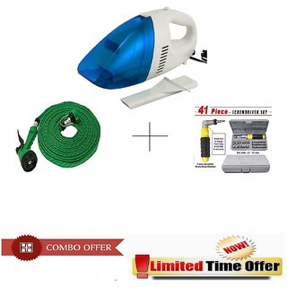 Special Combo Offer! Car Vacuum Cleaner With 41 pcs Toolkit and 10 meter Spray Gun - CRVSPR41P
