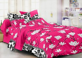 Luxmi Beautiful 3D flowers Design Double Bed sheets With 2 Piilow covers - Pink