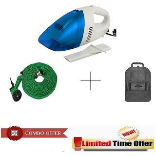 Special Combo Offer! Car Vacuum Cleaner With 10 meter Spray Gun and Car Back Seat 6 Pocket Organizer - CRVSPRCB6