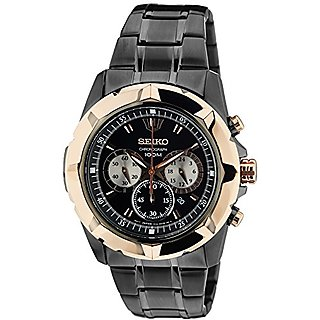 Seiko Black Dial With Rose-Gold Bezel Analog Watch For Men Srw028P1
