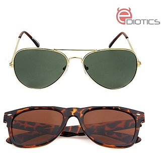 Ediotics Brown Leopard Print Unisex Wayfarer + Ediotics Victor Gold G 15 Aviator Sunglasses