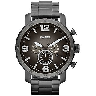 Fossil Nate Chronograph Grey Dial Mens Watch - Jr1437