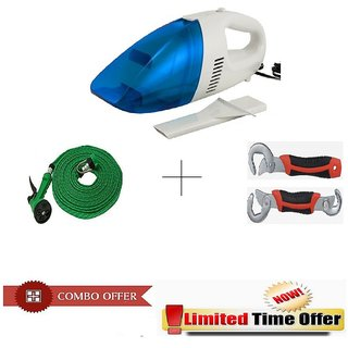 Special Combo Offer! Car Vacuum Cleaner With 10 meter Spray Gun and Snap n Grip Wrench Set - CRVSPRSNP