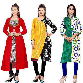 The Four Hundred Multicolor Printed Polycotton Unstitched Kurti