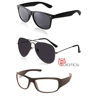 c58ff6c2ef1 Buy Ediotics Attitude Black Aviator Sunglasses