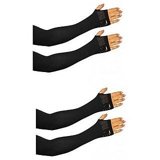 Nandini Stylish Pair of Black Arm Sleeves Unisex- 2 Pairs