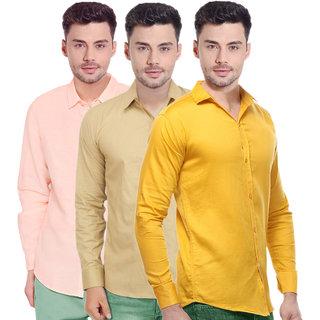 Spain Stylees Men's Multicolor Regular Fit Casual Shirt (Pack Of 3)