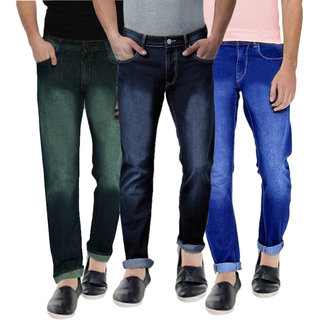 Spain Stylees Men's Multicolor Slim Fit Jeans (Pack of 3)