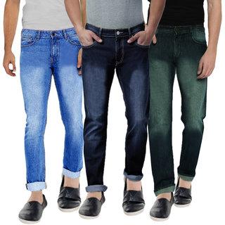 Spain Stylees Men's Multicolor Slim Fit Jeans (Pack of 3)