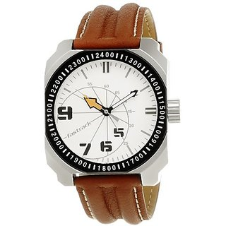 Fastrack Commando Analog White Dial Mens Watch - Ne3083Sl01